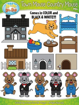 Town Mouse Country Mouse Famous Fables Clip Art Set — Over