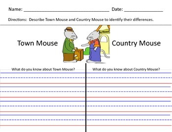 Town Mouse and Country Mouse Comparison