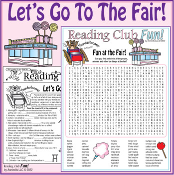 Bundle: Town and State Fairs Two-Page Activity Set and Wor