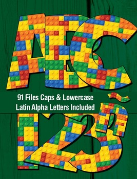 Toy Bricks Alphabet - 91 Files - Latin Letters - PDF - PNG
