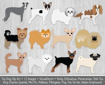 Cute Toy Dog Clip Art, 12 Hand Drawn Lap Dog Breeds, Adora