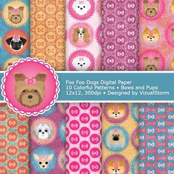 Dog Digital Paper, 10 Printable Girly Pet Patterns - Color