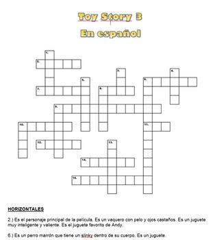 Toy Story 3 Spanish Crossword Puzzle