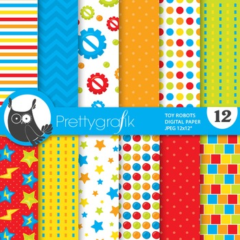 Toy robots digital paper, commercial use, scrapbook papers
