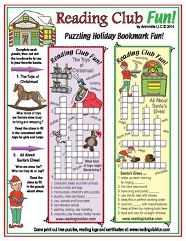 Toys and Elves Holiday Puzzling Bookmarks