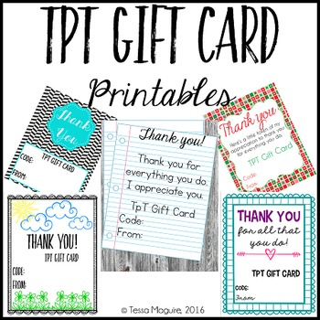 TpT Gift Card Printables
