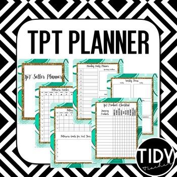 Planner for Teachers pay Teachers Sellers! ( Mint & Glitter Gold)