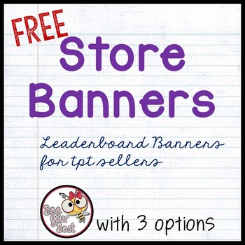 TpT Store Leaderboard Banner  FREE