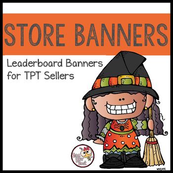 TpT Store Leaderboard Banner HALLOWEEN with Bobbleheadz Friends