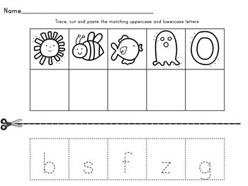 Trace, Cut and Match Letter Sounds Worsksheets