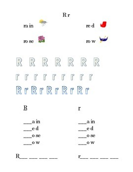 Trace Letter R r Sight Words Pictures Kindergarten