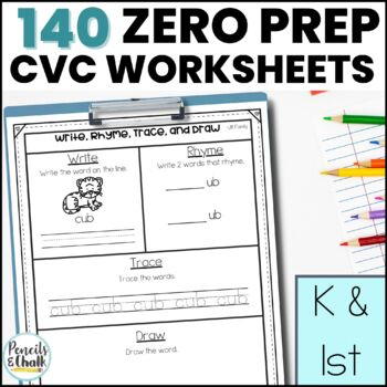 Trace, Make, Write, and Draw!  Low-Prep CVC Work Mats for