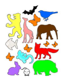 Trace Outline Animals Life-Skills Common-Core Colors Fine