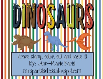 Trace Stamp Color Cut and Paste it, Dinosaurs