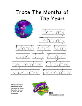 Trace The Months of The Year