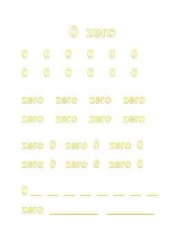 Trace Write Numbers 0 Zero to 10 Ten Kindergarten