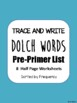 Trace and Write Dolch Words--All 220 words