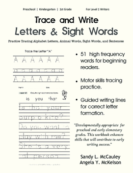 Trace and Write: Letters, Animal Words, Sight Words, and S