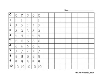 Trace and Write Numbers 0-50
