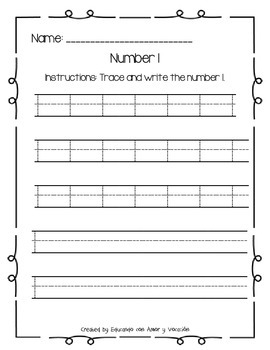 Trace and Write Numbers 1-5