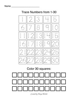 Trace and count numbers 1-30