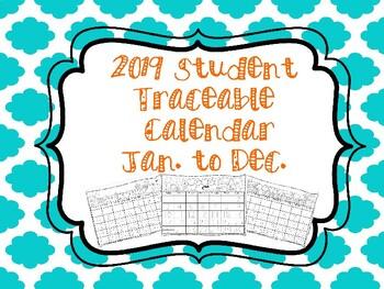 Traceable Calendar for Homeschool Students Jan to Dec