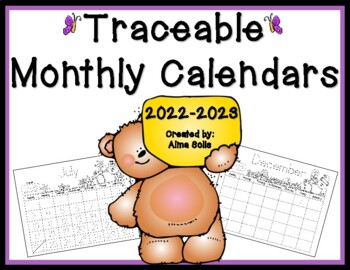 Traceable Monthly Calendars 2016-2017