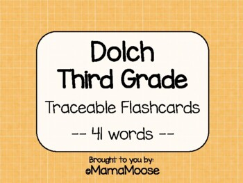 Traceable Dolch Word Flashcards--THIRD GRADE list 41 words