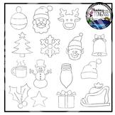 Tracing and Pinning Christmas Clipart Bundle
