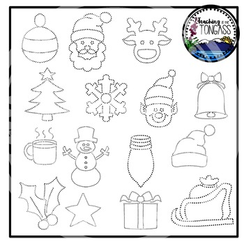 Tracing and Pinning Christmas Clipart Bundle