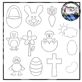 Tracing and Pinning Easter Clipart Bundle