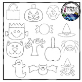 Tracing and Pinning Halloween Clipart Bundle
