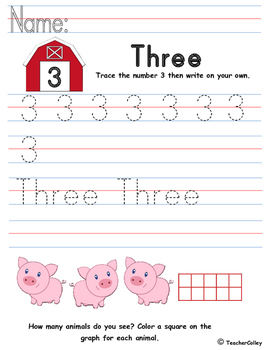 Tracing Numbers - Three (Farm Animals Theme)
