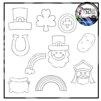 Tracing and Pinning St. Patrick's Day Clipart Bundle