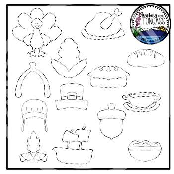 Tracing and Pinning Thanksgiving Clipart Bundle