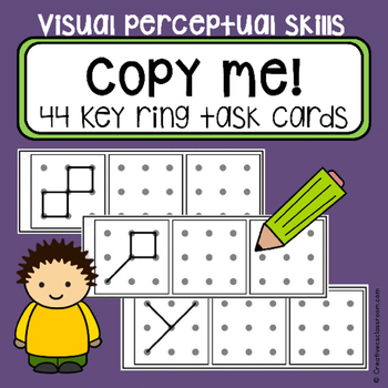 Dot to dot copy practice 3x3 design - key ring task cards