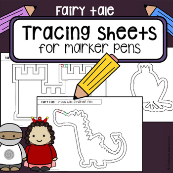 Tracing practice pre-writing skills FAIRY TALE worksheets  OT