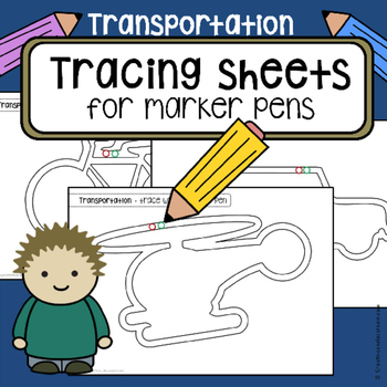 Tracing practice pre-writing skills TRANSPORTATION vehicle