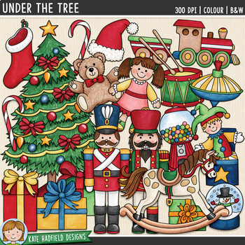 """Traditional Christmas Clip Art: """"Under The Tree"""""""