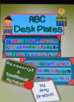 Traditional and Manuscript Alphabet Desk Plates or Individ