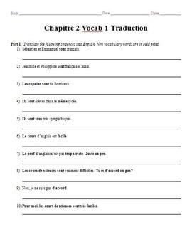 Bon Voyage Chapitre 2 Vocabulaire Mots 1-2 Traduction Worksheets
