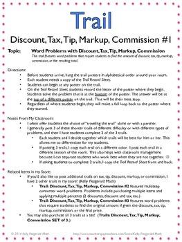 Trail: Discount, Tax, Tip, Markup, Commission #1