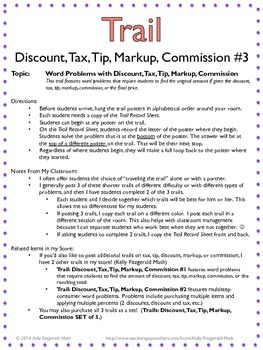 Trail: Discount, Tax, Tip, Markup, Commission #3