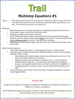 Trail: Multistep Equations Set of 3 (Combining Like Terms/