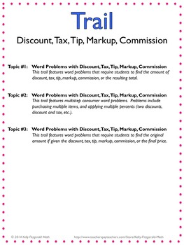Trails: Discount, Tax, Tip, Markup, Commission (Set of 3)