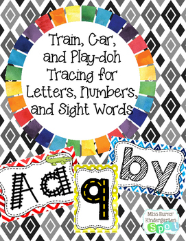 Train, Car, and Play-doh Tracing Cards