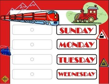Train Weekday Chart! Train Bulletin Board! Train Theme! Tr