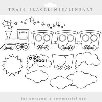 Train clipart - lineart train clip art blacklines wagons c