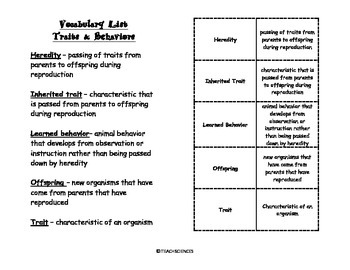 Traits & Behaviors Vocab Pack