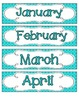 Tranquil Turquoise Quatrefoil Calendar Numbers, Months and Days
